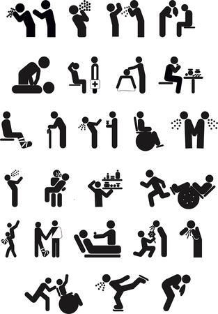 Conceptual set of health and hospital concept icons; vector print illustrations of doctors and patients, spreading infection. Illustration