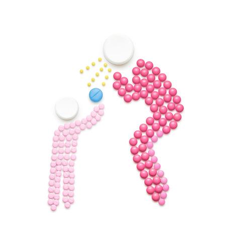 vacunacion: concepto de salud creativa hecha de drogas, aislado en blanco. persona adulta estornudos y la propagación de la enfermedad en el niño. Foto de archivo