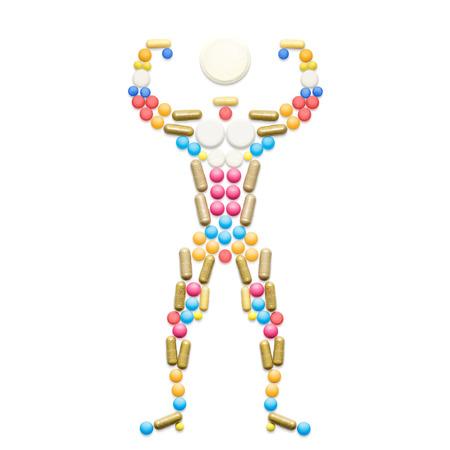 hormonas: El dopaje fármacos y hormonas esteroides en forma de un culturista muscular que presenta. Foto de archivo