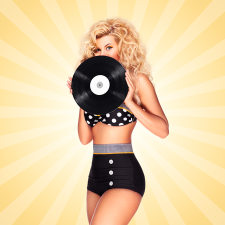 lp: Beautiful pinup bikini model, holding an LP vinyl record on colorful abstract cartoon style background.