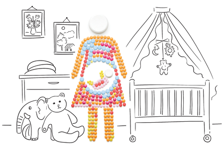 baby sick: Creative medicine and healthcare concept made of pills, a pregnant woman with a baby on sketchy background. Stock Photo