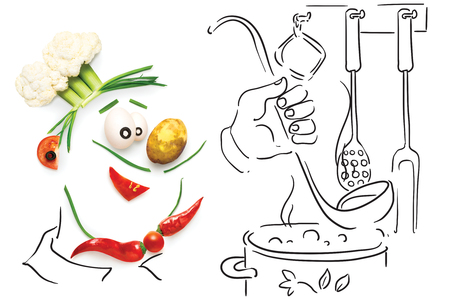 soup: Creative food concept of a funny cartoon chef, made of vegetables, cooking  a soup on sketchy background. Stock Photo