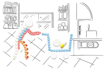 healthcare and medicine: Creative medicine and healthcare concept made of pills, drugs in shopping cart, on sketchy background.