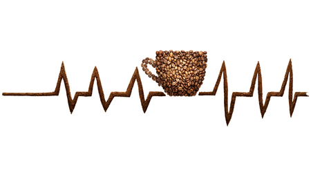 Creative still life photo of a coffee cup and pulse line mad of coffee beans on white.
