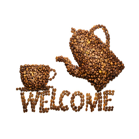 black bean: Creative still life photo of a coffee cup, pot and welcome sign made of coffee beans on white. Stock Photo