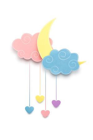 Creative valentines concept photo of the moon and clouds with hearts made of paper on white background. Stock Photo