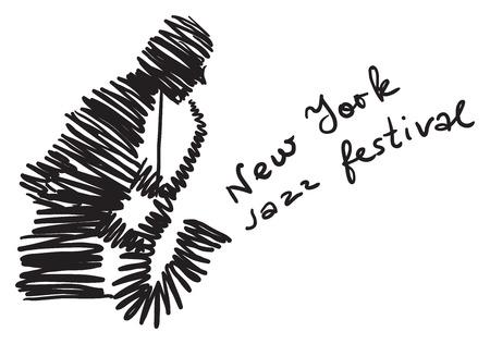 Festival de musique conceptuelle créative vecteur. Homme jouant un instrument de musique. Banque d'images - 74360893