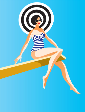 Creative conceptual vector. Woman sitting on a board in the sunlight. Stock Photo