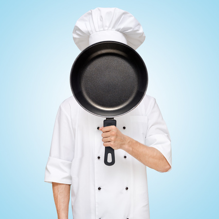 Restaurant chef hiding behind a frying pan for a business lunch menu with prices.