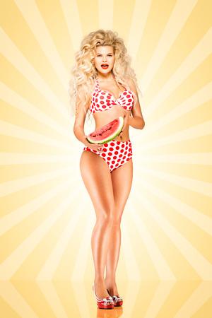 watermelon woman: Beautiful pinup bikini model, holding a watermelon on colorful abstract cartoon style background. Stock Photo
