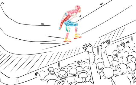 Doping drugs in de vorm van een speed roller skater tijdens de wedstrijd.