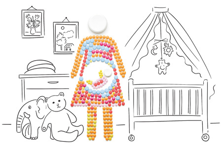 Creative medicine and healthcare concept made of pills, a pregnant woman with a baby on sketchy background. Stock Photo