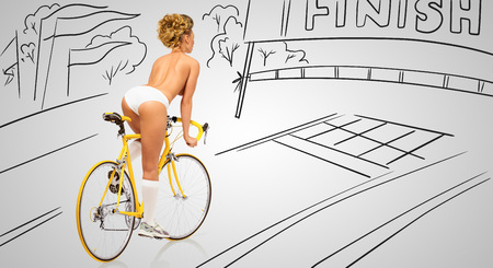 Back view of a sexy pin-up female cyclist in white erotic panties riding a yellow racing bicycle on sketchy background of a race finish line.