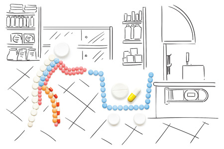 Creative medicine and healthcare concept made of pills, drugs in shopping cart, on sketchy background.