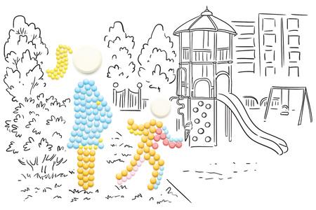 Kreative Medizin und Gesundheitswesen Konzept aus Pillen, schwangere Frau zu Fuß in den Park mit einem anderen Kind, auf skizzenhaften Hintergrund. Standard-Bild - 77012838