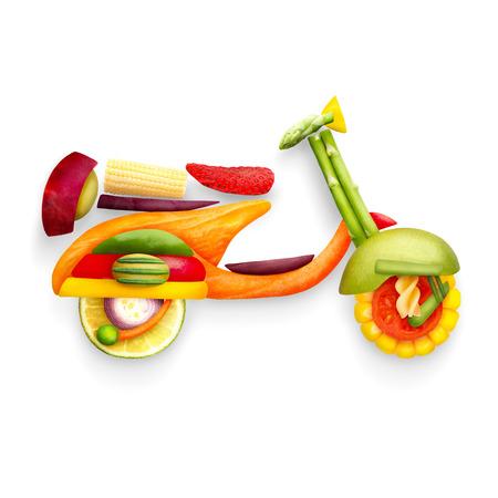 Un concepto de comida de un scooter retro clásico Vespa para viajar de verano hecho de frutas y verduras aislados en blanco.