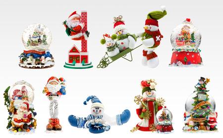 A set of X-mas presents including snowmen, santa and different snowballs.