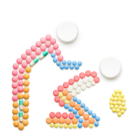 medical illustration: Creative health concept made of drugs and pills, isolated on white. Person helping a vomiting one.