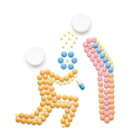 創造的な健康の概念は、薬や錠剤は、白で隔離から成っています。、風邪をひいている人くしゃみと愛のパートナーに病気の広がりです。