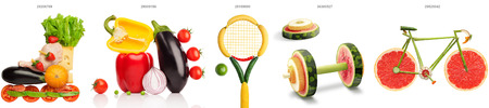 composition: A set of sport compositions made of vegetables.