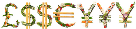 A creative exchange concept of a pound, euro, yen and dollar made of sushi and vegetables. Stok Fotoğraf