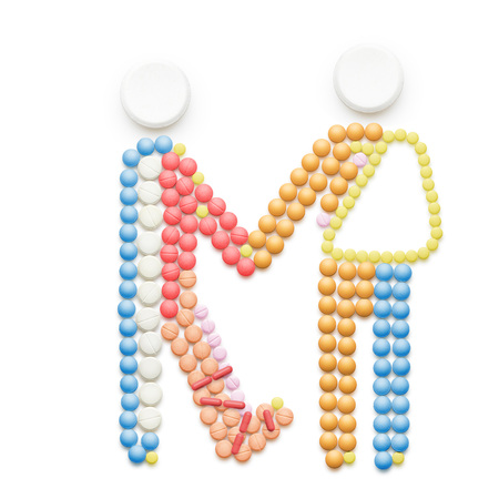 medical illustration: Creative medicine and healthcare concept made of drugs and pills, two persons with broken leg and arm holding hands isolated on white.