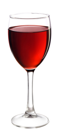 Full glass of red wine, isolated on white background