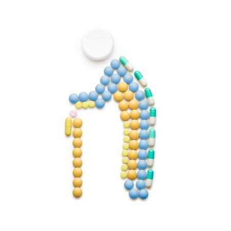 크리 에이 티브 의학 및 의료 개념 마약과 알 약, 지팡이 화이트 격리 걷고 노년했다. 스톡 콘텐츠