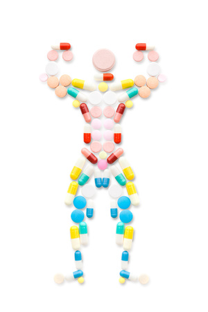 Doping drugs and steroid hormones in the shape of a posing muscular bodybuilder.