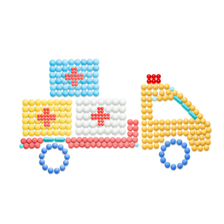 Creative medicine and healthcare concept made of pills, drug and medication delivery by truck, isolated on white.