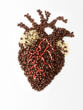 Doping drugs and coffee beans in the shape of a human heart to make it beat.