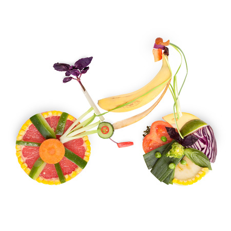 Fruits and vegetables in the shape of a bicycle in detail.