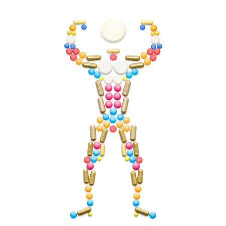 steroid: Doping drugs and steroid hormones in the shape of a posing muscular bodybuilder.