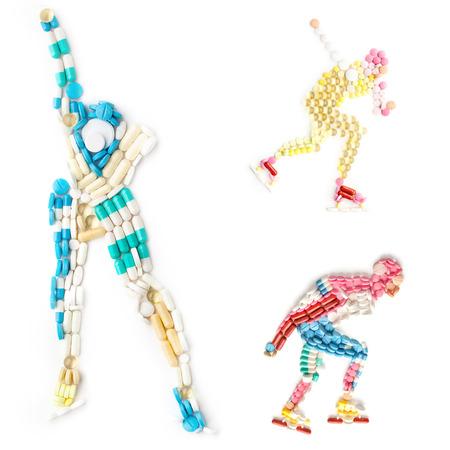 carrera de relevos: Conjunto de iconos creativos de concepto de salud y deportes con drogas dopantes en la forma de un patinador de rodillo de velocidad y patinador de rodillo de hielo en la pista.