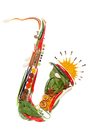 Colourful sax made of condiments.