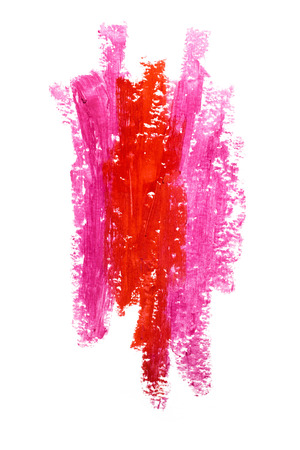 Creative photo of an abstract red and pink lipstick strokes isolated on white. Stock Photo