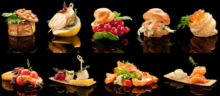 A close-up of a yummy variable choice of restaurant dishes for banquet.