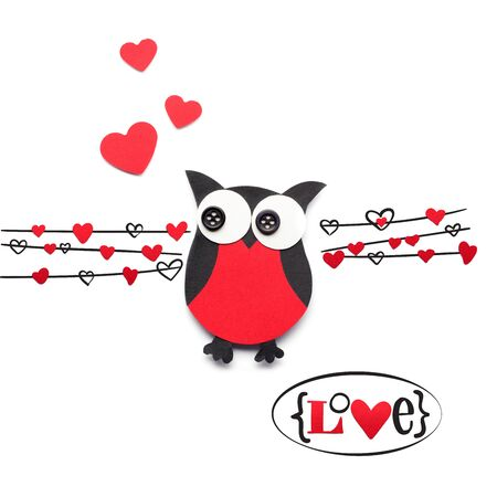 romance: Creative valentines concept photo of paper owl with hearts on white background. Stock Photo