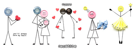 Creative concept photo of illustrated people with buttons instead of their heads on white background.