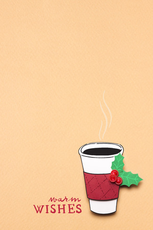 festive: Creative concept photo of christmas take away coffee cup made of paper on brown background. Stock Photo