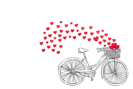 Creative valentines concept photo of hearts and illustrated bicycle on white background.