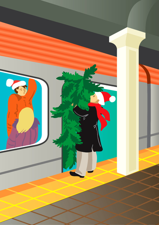 holiday background: Creative conceptual christmas vector. Man in a subway with a christmas tree.