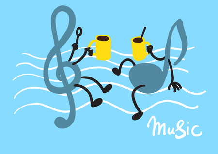 Creative conceptual vector. Music notes with coffee cups. Imagens - 77498110