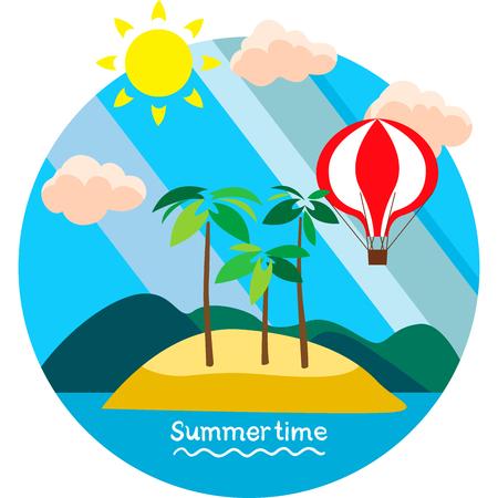 summertime: Creative conceptual vector. Summertime vacation.