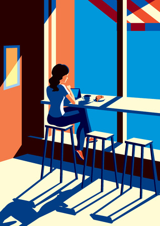 pad: Creative conceptual vector. Woman sitting in the cafe with a cup of coffee.