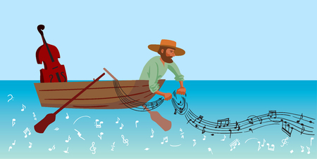 創造的な概念ベクトル。ボートでの釣りの男。  イラスト・ベクター素材
