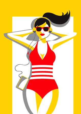 創造的な概念ベクトル。太陽の下で横になっている女性。
