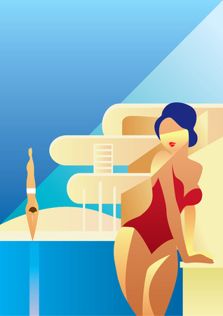 Creative conceptual vector. Woman standing in the sunlight.