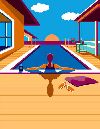 Creative conceptual vector. Woman in the pool in the sunlight.