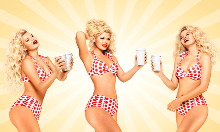 Set of photos of beautiful pinup bikini model, holding take away coffee on colorful abstract cartoon style background.